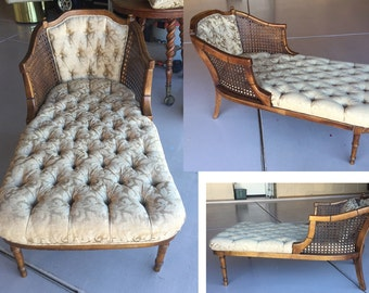 French chaise lounge tufted vintage cane wood provincial Louis champagne gold brocade boudoir chair caned pale Hollywood Regency Mid-Century