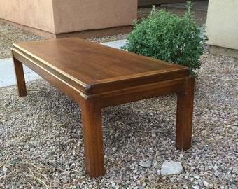 "Lane coffee table Rhythm style 50"" walnut bench mid century cocktail table vintage danish modern Lane style 1590 walnut"