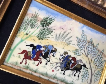Vintage Persian painting on bone tribal folk art polo players miniature hand painted on camel bone chowgan