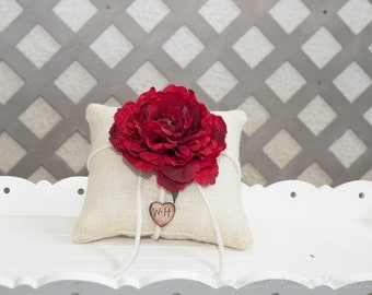 Deep Red Peony ring bearer pillow. Customize with flower and bride and groom initials