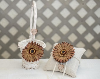 Custom White willow flower girl basket basket and burlap ring bearer brown daisy flower with bride and groom initials stamped on wood heart