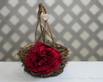 Small Rustic twig flower girl basket personalized with bride and groom initials other flowers to select from