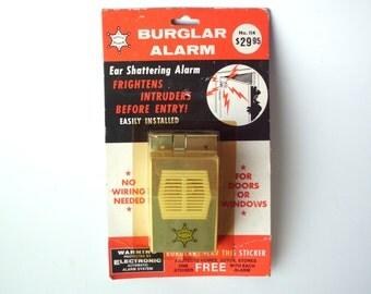 Vintage Burglar Alarm, Wireless Battery Power '60's/'70's Door Intruder Alarm, New in Package