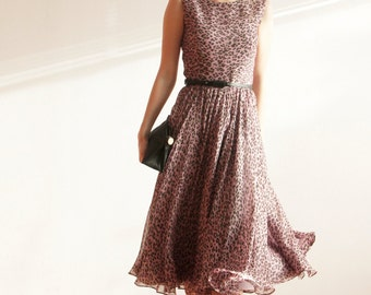 Silk Handmade Leopard Print Gown Prom Ball Wedding Rehearsal dinner Midi dress Feminine High fashion Haute couture