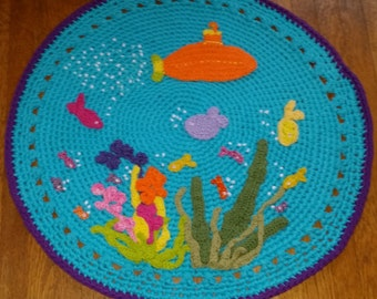 Under the Sea Rug,Crochet Rug, Small Rug, Rugs, Rug, Bath Mat, Mat, Round Rug, Sea Creatures Rug, Submarine Rug, Childrens Decor