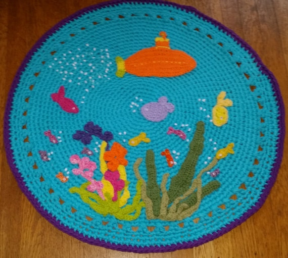 items similar to under the sea rug crochet rug small rug rugs rug bath mat mat round rug. Black Bedroom Furniture Sets. Home Design Ideas