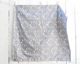 Organic Blanket - Grey Moon Phases, Baby Blanket, Crib, Twin Sized Blanket, Twin Duvet, Twin Quilt, Moon Blanket, Galaxy Decor
