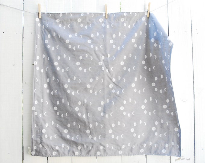 Organic Blanket - Grey Moon Phases, Baby Blanket, Crib, Twin Sized Blanket, Twin Duvet, Twin Quilt, Moon Blanket