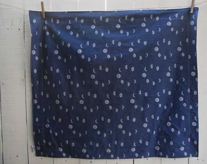 Organic Baby Blanket - Navy Moon Phases