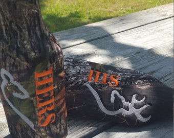 His and Hers bottle cozies, doe and buck, heart, camo, drink cozy, insulator zippered back fits 12oz bottle