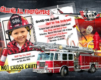 ON SALE Firefighter Party, Fireman Invitation, Fire Truck Birthday - ADD Helmet