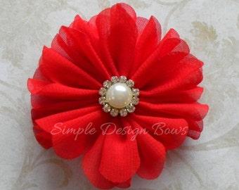"""Red Hair Flower - Red Flower Clip - Hair Clip or Brooch - 2"""" EMILY FLOWER"""