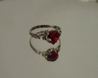 1951 Art Deco McGrath - Hamin Sterling Ruby Heart Ring
