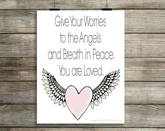 You are Loved Digital Print, Angel Print, Guardian Angel Print, Instant Digital Download Print, Print, 8x10 Digital Print, INSTANT DOWNLOAD