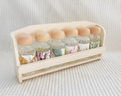 Mini Bottle Storage Rack  Farmhouse Shabby Chic Home storage Buttons Herbs and Spices