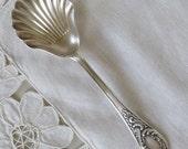 Vintage Sugar Spoon Silver Plated Spoon Dessert Spoon Shell Spoon Vintage Silverware