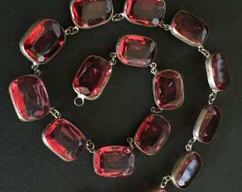 WATERMELON RED - Open Back Bezel Set Glass Crystal Necklace - Cushion Shaped Cut - 1920s