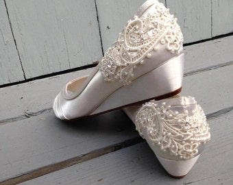 French Pleat Bridal Wedge Wedding Shoes - All Full Sizes - Pick your own shoe color and crystal color