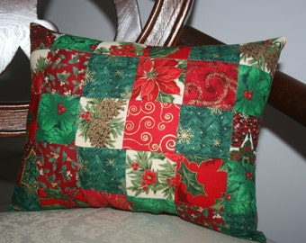 Christmas Holiday Rectangle Quilt Decorative Accent Pillow Handmade Quilted