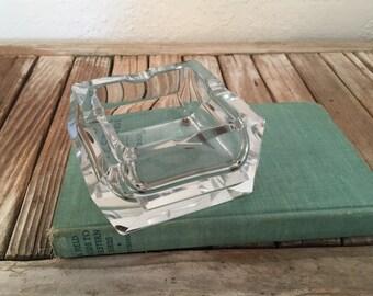 Vintage Art Deco Crystal Glass Ashtray