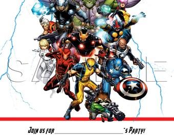 Avengers Invitation - INSTANT DOWNLOAD - Thor - Iron Man - Captain America - Hulk - Spiderman