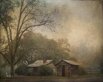Foggy Landscape Photography- Landscape Art, Country Photography, Farm in Fog Photo, Rustic Decor, Foggy Landscape Art, Textured Landscape