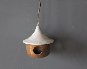 Handmade Pottery Birdhouse