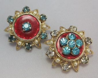 Guilloche Vintage Brooches - Rhinestone Brooches  - Antique Pins