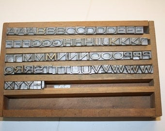 Vintage Metal Letterpress Letters - Set - Vintage Printing Decor - Wooden Box