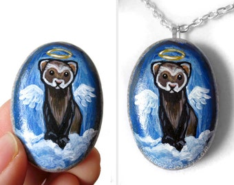 Ferret Necklace, Pet Portrait, Angel Jewelry, Animal Painting, Hand Painted Pebble Art, Pet Loss, Memorial Gift for Her, Blue Pendant