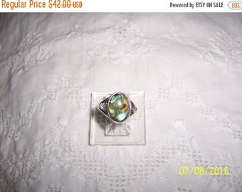 20 OFF EVERYTHING Vintage Abalone and clear stones ring. Sterling silver.