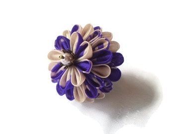 Purple White Chrysanthemum Ring/ Kanzashi Inspired Flower Ring Statement/ Floral Jewelry/ Fabric Jewelry/ Fabric Flower/ Gift For Her TZ05R