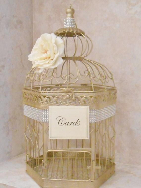 Xl champagne gold wedding birdcage card holder