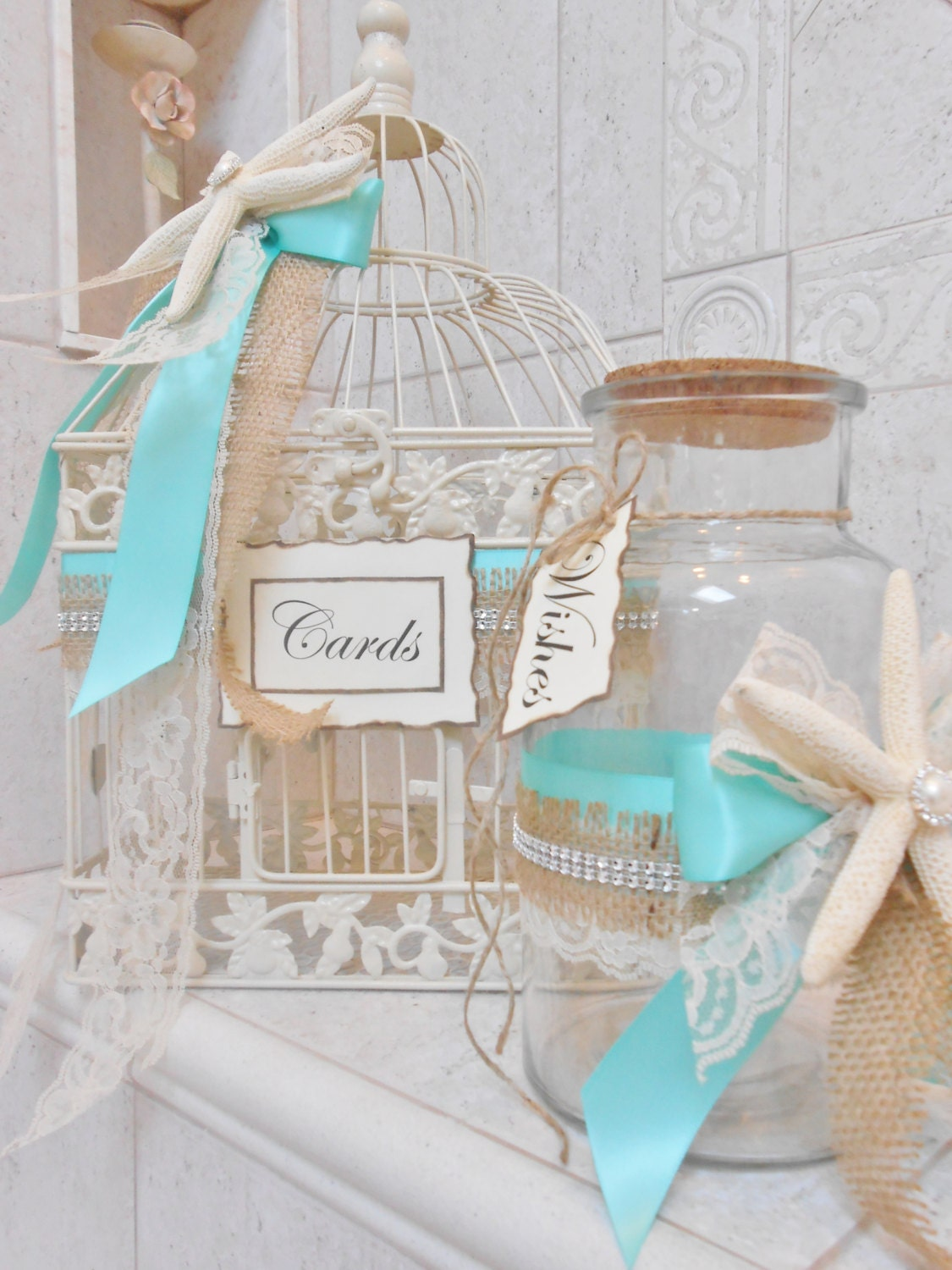 Beach Wedding Card Box - Birdcage Card Holder - Summer Wedding Decor ...