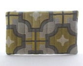 Gold and Grey Quilted Zip Pouch