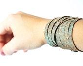 Leather Bracelet / Original Sliced Wrap Cuff / Vintage Turquoise