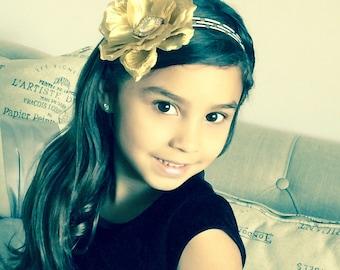 Baby Headband gold rose black and gold dots  striped elastic headband, girl headband , Christmas