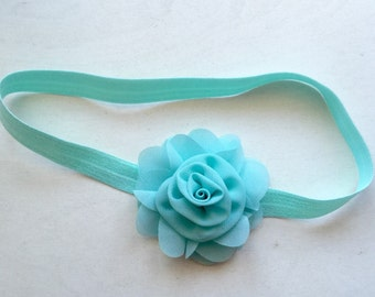 Chiffon rosette  elastic headband infant baby girl headband.