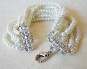 Silver Wedding Bracelet Rhinestone Pearl Bracelet Elegant Bridal Jewelry Dainty Wedding Jewelry Small Pearl Bracelet Ivory Pearl Bracelet