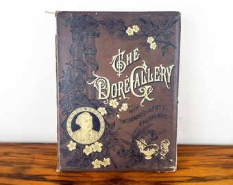 Rare Antique 1870 Cassells Dore Gallery 250 Engravings by Edmund Ollier, Victorian Home Hardback Coffee Table Decoration Gustave Fine Art