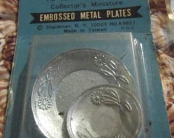 Vintage DOLLHOUSE MINIATURE Grandmother Stovers Kitchen Metal Serving Plates