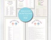 Hot Air Balloon Baby Shower Games, Printable Baby Shower Games with Answers, Nursery Rhyme Game, Baby Scrabble, Instant Download #0106