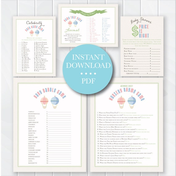 hot air balloon baby shower games printable baby shower games with