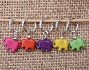 Elephant stitch markers, set of five