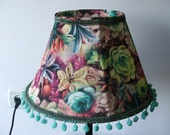 Delicate and Colorful Flowers in Lovely Bedside  Table Lamp  with Pom-Pom.