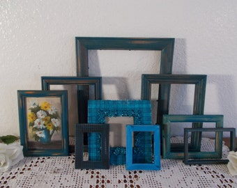 Blue Picture Frame Set Up Cycled Vintage Photo Gallery Collection Shabby Chic Beach Cottage Coastal Seaside California Nautical Home Decor