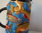 French press cozy, Bodum cozy sleeve,  Press pot cozie, Trout on blue background