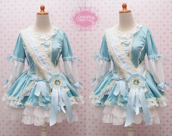 Turquoise Long Sleeve Lolita Dress Combine With Cream Laces, Ruffle Skirt, and Huge Ribbon - Custom to your size