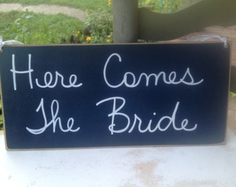 Navy Blue and White Here Comes The Bride Wedding Sign, Wooden Wedding Signage