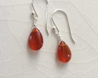 Small Carnelian Drop/Pears and Sterling Silver Dangle Earings